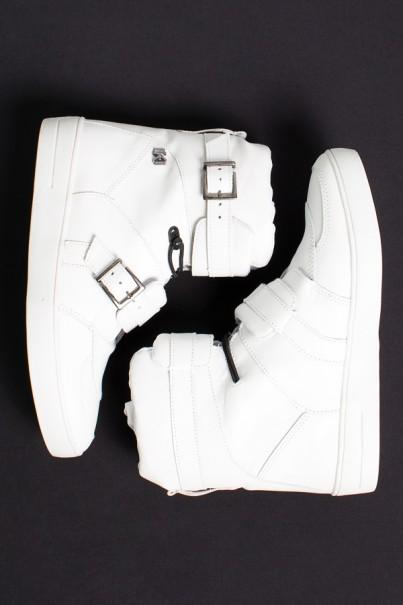 Sneaker Cano Alto com Fivela e Elástico (Branco)   Ref: KS-T49-001