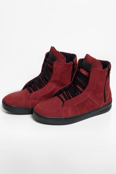 Sneaker Nobuck com Fecho (Vinho com Sola Preta)  Ref: KS-T53-004