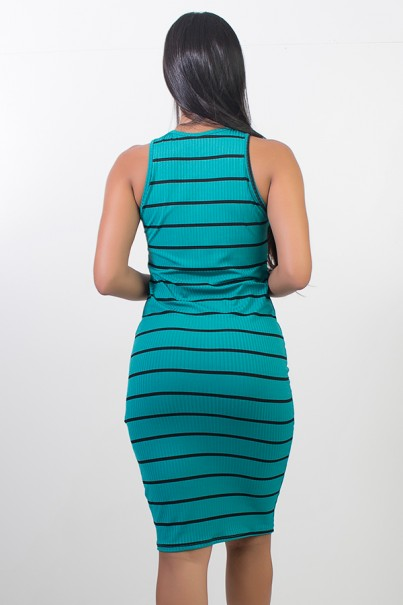 Vestido Listrado Midi Comprido (Verde) | Ref: CEZ-CZ601-004