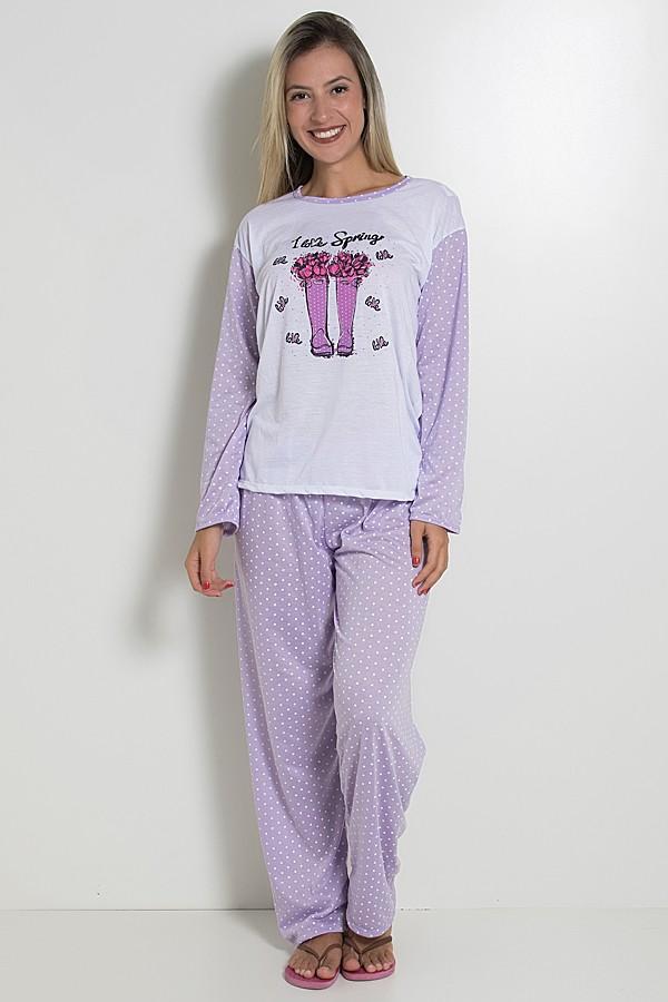 52a116764 Pijama feminino longo 124 (Lilás) ...