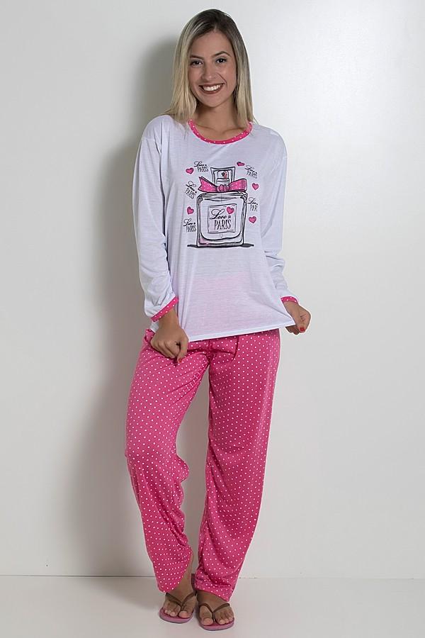 a4703cc7bbe538 Pijama feminino longo 246 (Pink)   Kaisan