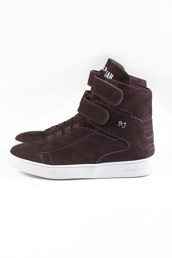 021166730 Sneaker Cano Alto Nobuck com Velcro (Marrom)