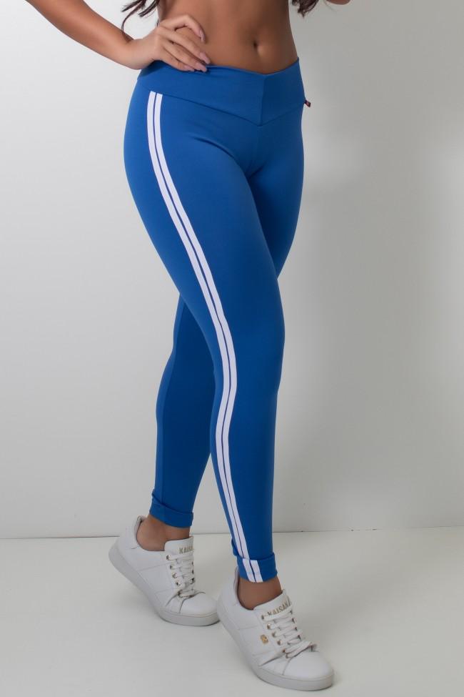386b3acb2 Calça Legging com Listras (Azul Royal   Branco)