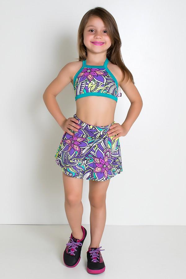 4e50eecab8 Conjunto Infantil Top + Short Saia (Tribal Colorido com Flor Roxa   Verde  Esmeralda) Zoom