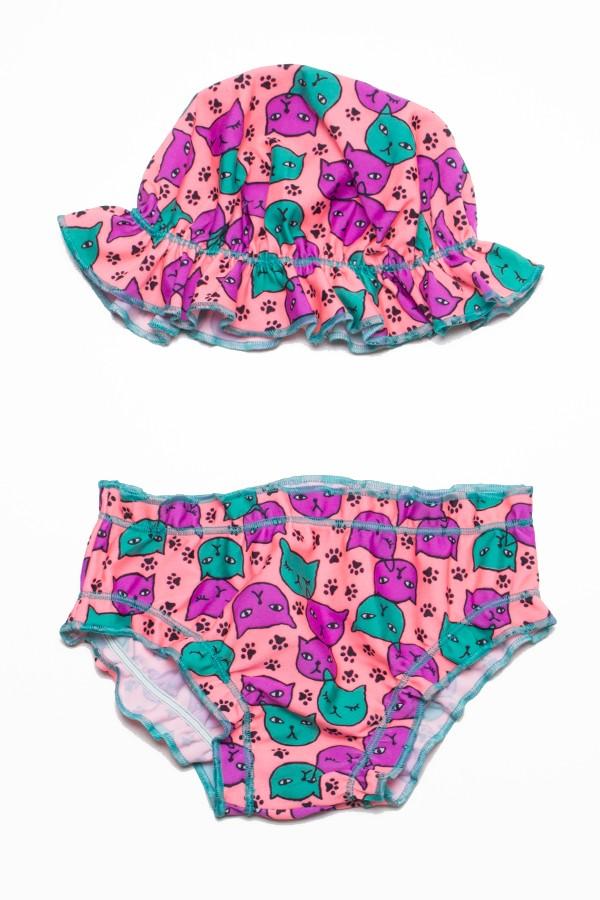 Conjunto Praia Bebê Tamanho Único (Coral com Gatinho)  95e483bd829