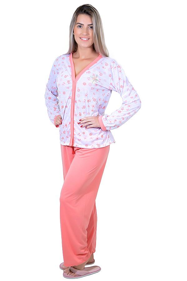 bf6ba94f2 Pijama feminino longo 182 (Salmão) | REF:CEZ-RSP-078-004 | Kaisan