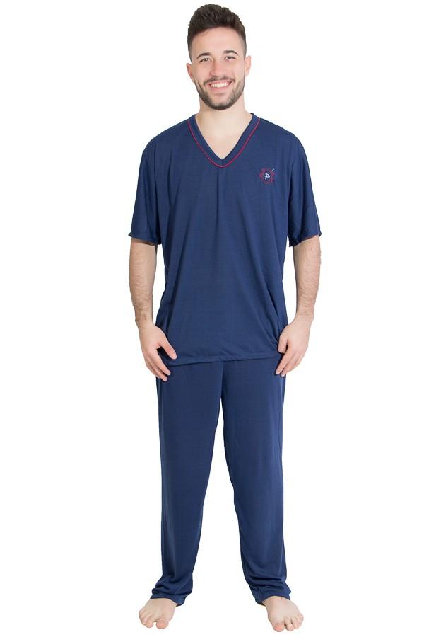 3270594e23075f Pijama Mas. Manga Curta 091 (Azul marinho) | Ref: CEZ-PM01-001 | Kaisan