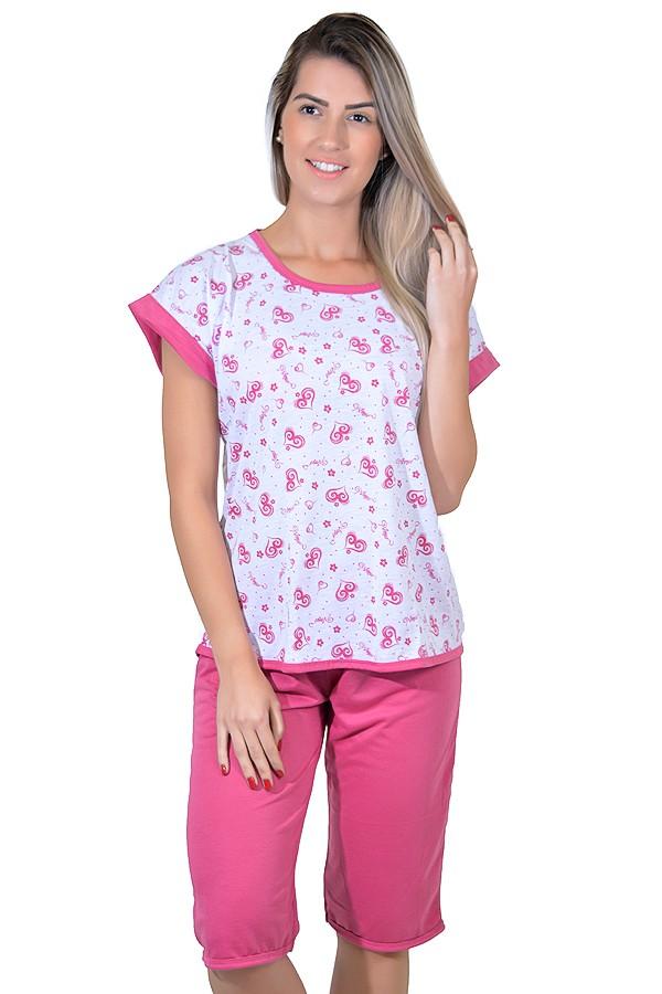 d3bfe00d5 Pijama Pescador 032 (Pink - Estampa de Corações)