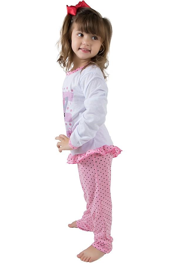 baddb1f5b ... Pijama longo de Malha Infantil 185 Rosa com Poá
