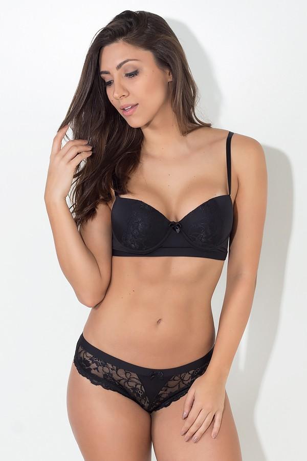 Conjunto de lingerie Rendado 390 (Preto)  fb2047e987f