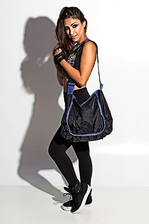 Bolsa Esportiva Feminina Pequena : Bolsa esportiva de nylon preta com vi?s roxo kaisan