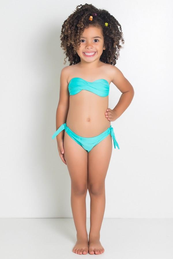 406299d797 Biquini Infantil Tomara Que Caia Liso com Bojo (Verde Esmeralda)