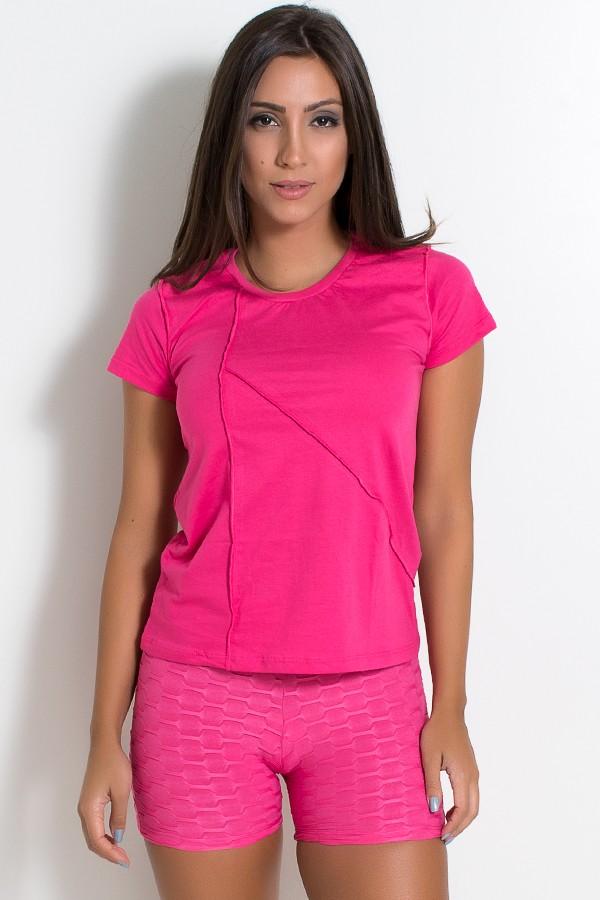 cd0bf1432e Camiseta de Malha com Ponto de Cobertura (Rosa Pink)