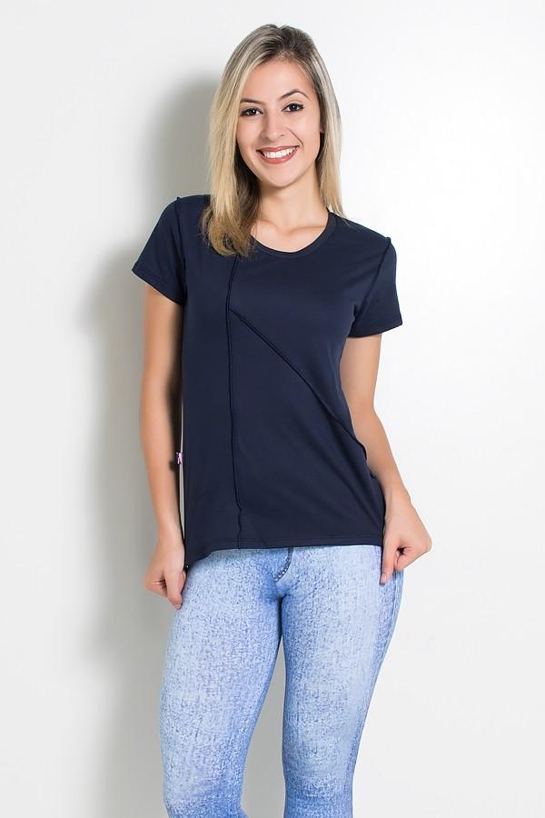 9a10e6698 Camiseta de Malha com Ponto de Cobertura (Azul Marinho)