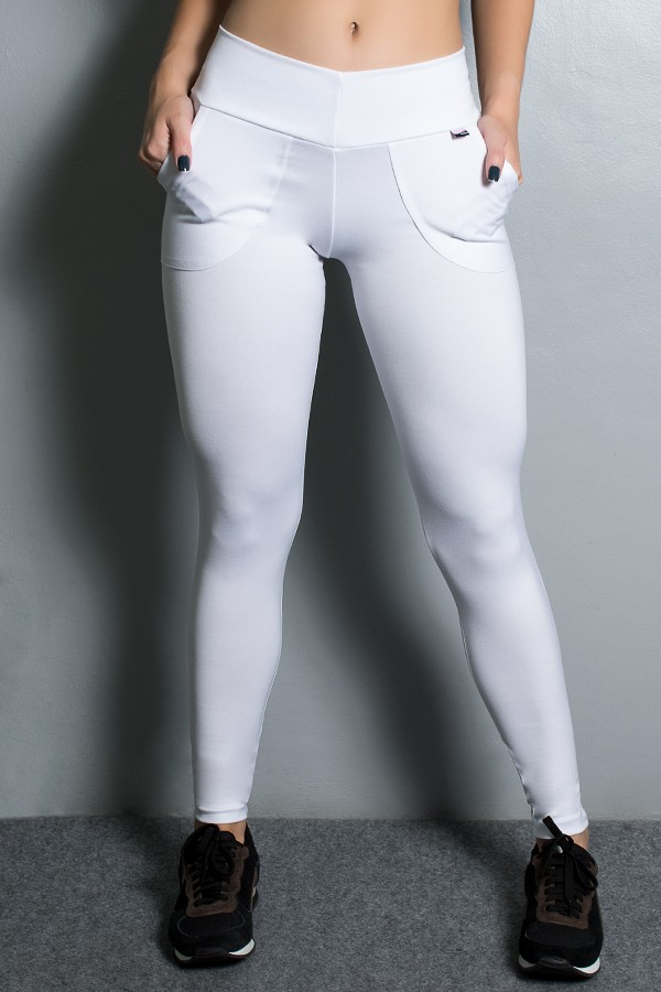 0d3008c7c Calça Legging Lisa com Bolso (Branco) | Ref: KS-F146-006 ...