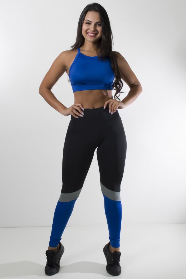 006aa0eef conjunto top com tiras cruzadas e legging três cores ( preto-azul  royal-cinza ...