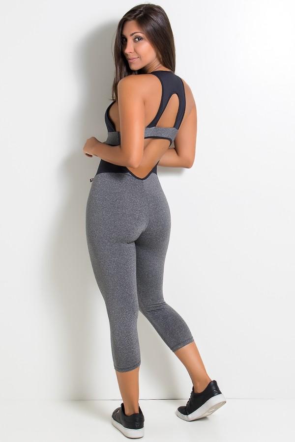 ... Macacão Fitness Karine Mescla (Mescla   Preto)  c2baef6730ed3