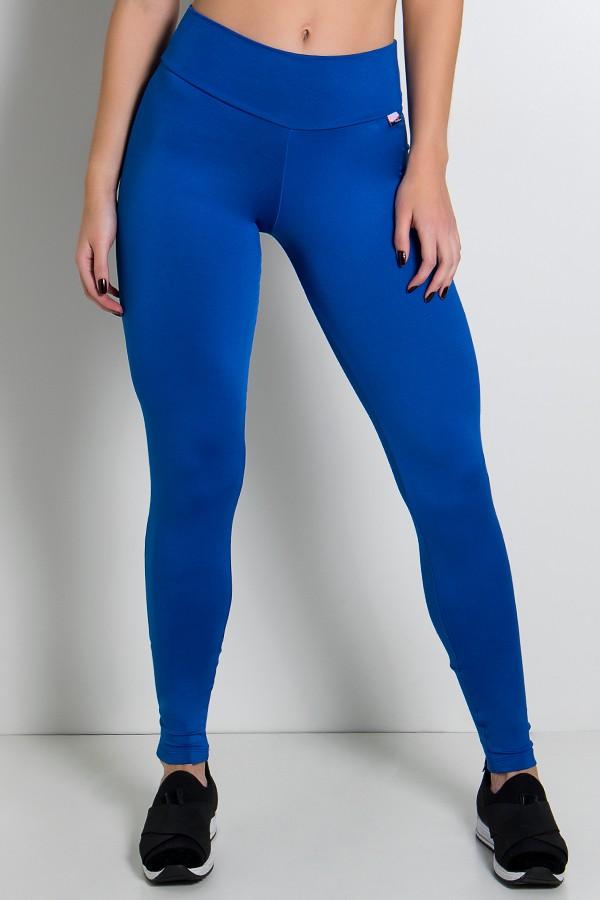 23a735cc3 Calça Legging Lisa com Fecho na Perna (Azul Royal)