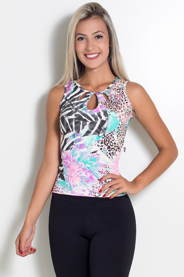 aa4c82d4d Blusa Estampada Camila (Tigre e Zebra com Flor)   Ref: KS-F194 ...