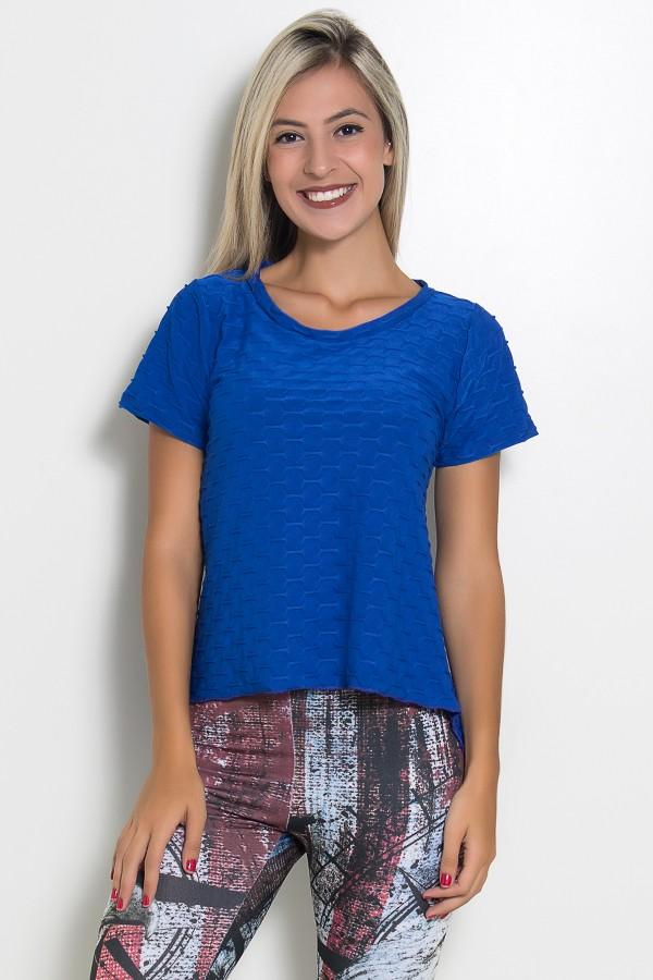 0307bee08 Camiseta Tecido Bolha Fitness Mullet (Azul Royal)