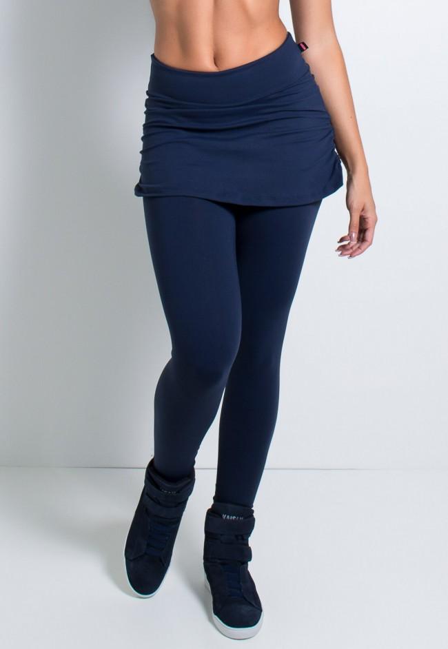 d1660df78 Calça Legging Lisa com Saia Franzida (Azul Marinho) | Ref: KS-F315 ...