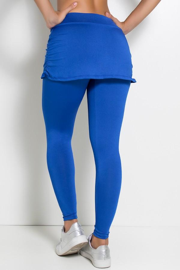 074a99cdb Calça Legging Lisa com Saia Franzida (Azul Royal)