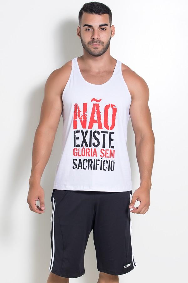 8d9b64a30f Camiseta Regata (Não Existe Glória Sem Sacrifício) (Branco)