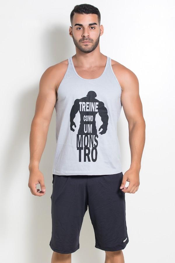 Camiseta Regata (Treine Como Um Monstro) (Cinza)  d166cf89105