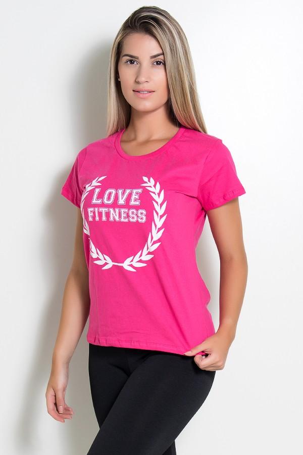 3db57fe9a1 ... Camiseta Feminina Love Fitness (Rosa Pink)