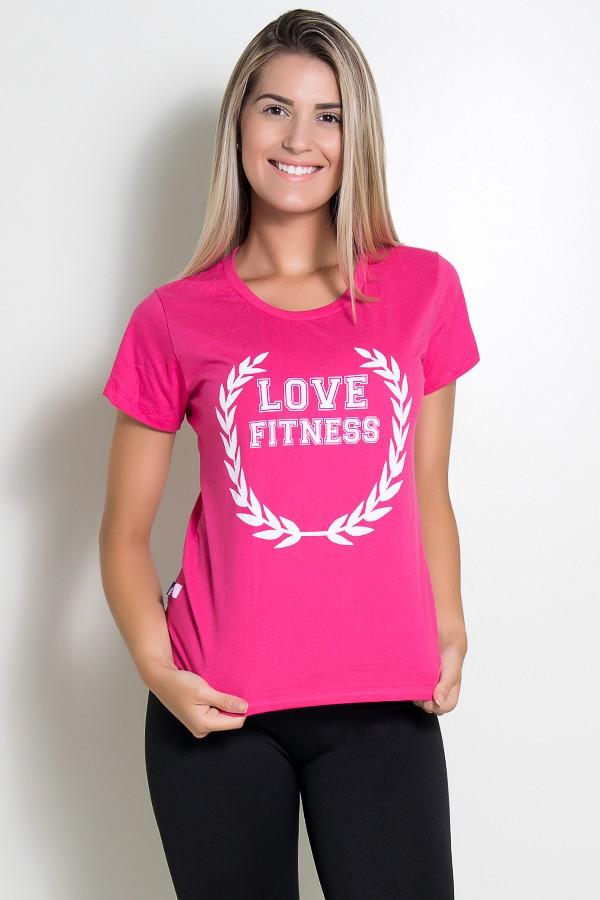 7743b6948a Camiseta Feminina Love Fitness (Rosa Pink)