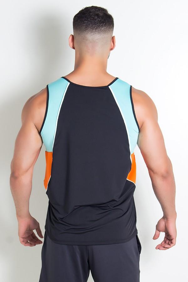 eed56d7e07189 ... Camiseta de Microlight Masculina 3 Cores com Vivo (Preto - Verde Água -  Laranja com ...