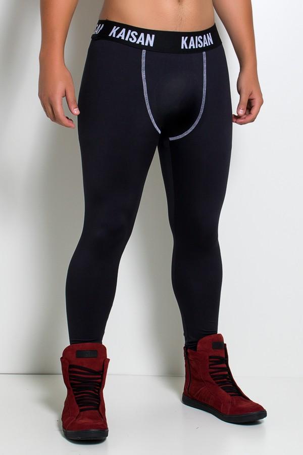 0a9a2f3dc Calça Legging Masculina com Cós de Elástico (Preto   Branco)