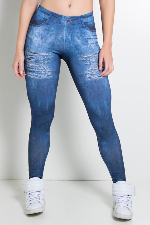 c49396644 Legging Sublimada PRO (Jeans com Rasgos e Zíper)   Kaisan