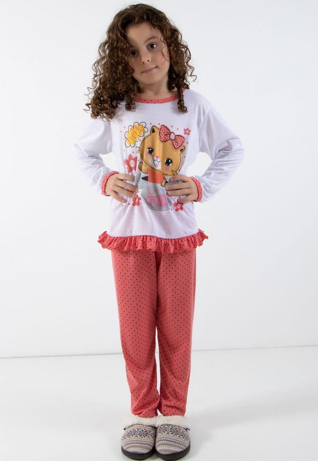 52e516c9b Pijama longo de Malha Infantil 185 Goiaba