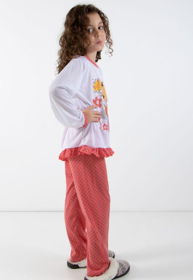 7b2d5bb1f ... Pijama longo de Malha Infantil 185 Goiaba