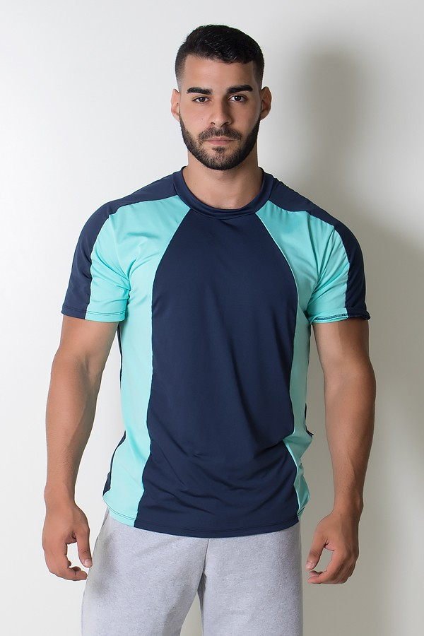 121aa62faa Camiseta Masculina de Microlight Duas Cores (Azul Marinho   Verde Água)