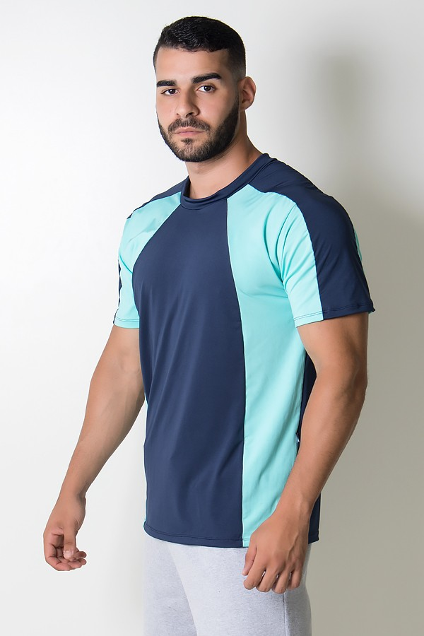 089787c66d507 ... Camiseta Masculina de Microlight Duas Cores (Azul Marinho   Verde Água)