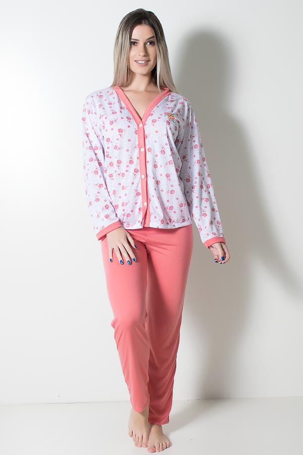 5433d8f04a2559 Pijama feminino longo 182 (Goiaba Flores)   Ref: CEZ-PA182-013   Kaisan