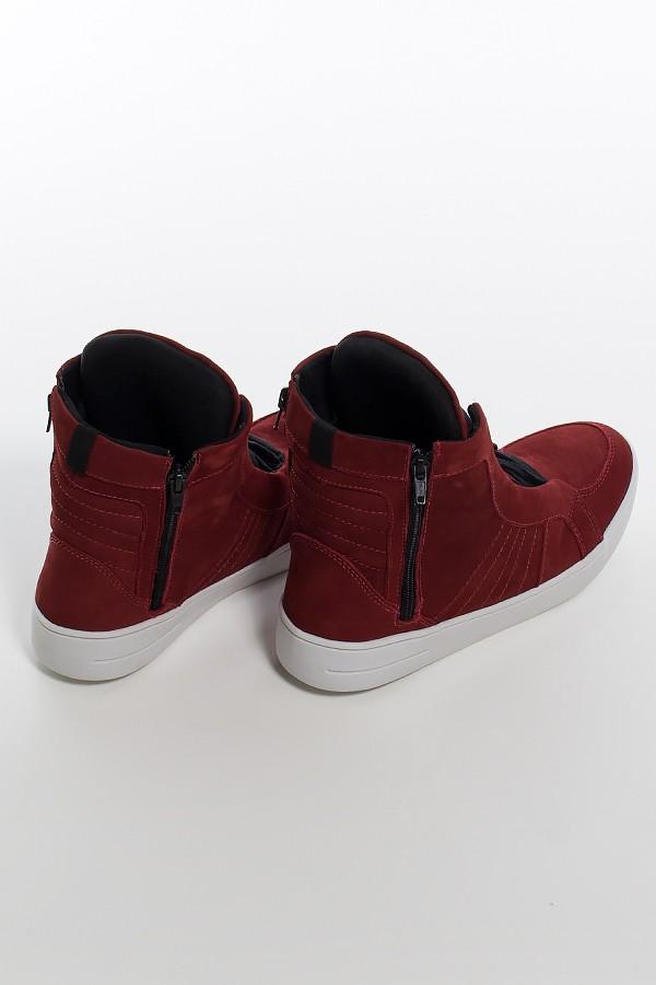 5db151c50e ... Sneaker Nobuck com Fecho (Vinho)