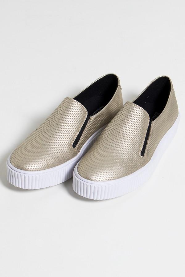 8652219b5a8 Tênis Slipper Metalizado (Dourado   Branco) 786-04
