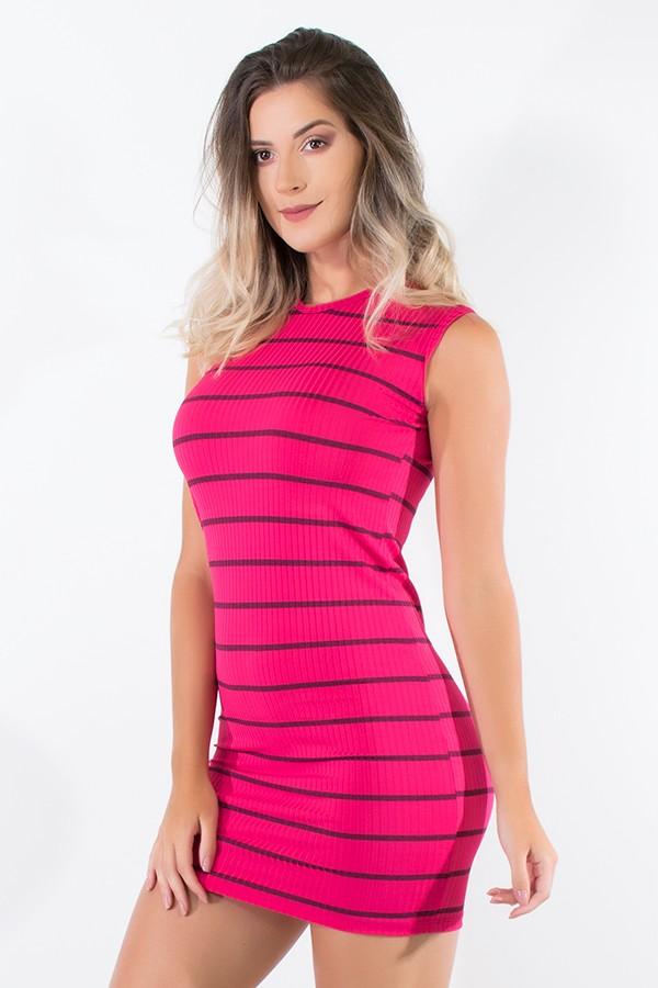 29e899ea6c69 Vestido Listrado Curto (Pink) | Ref: CEZ-CZ600-003 | Kaisan