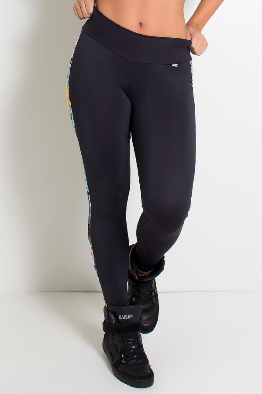 Calça Legging Lisa com Listra Estampada (Preto / Floral com Oncinha) | Ref: KS-F82-001