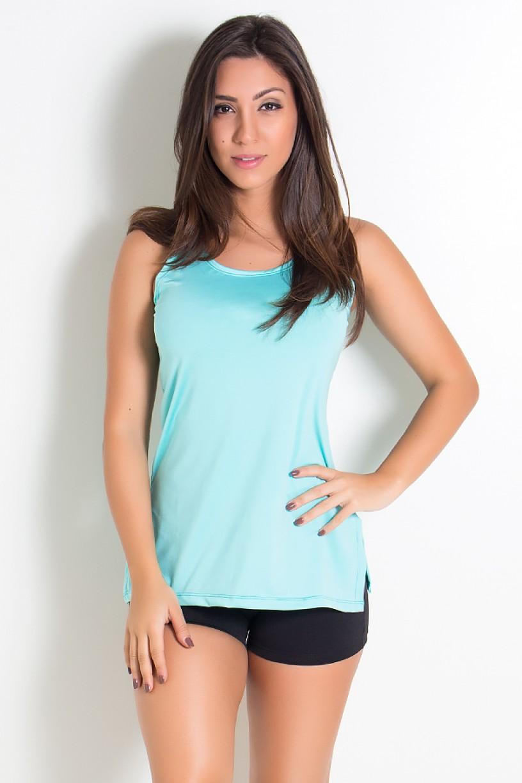 Camiseta de Microlight com Detalhe Lateral (Verde Água) | Ref: KS-F1662-003