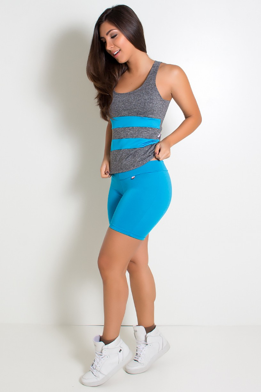 Camiseta Mescla com Detalhe Liso (Azul Celeste) | Ref: KS-F494-007