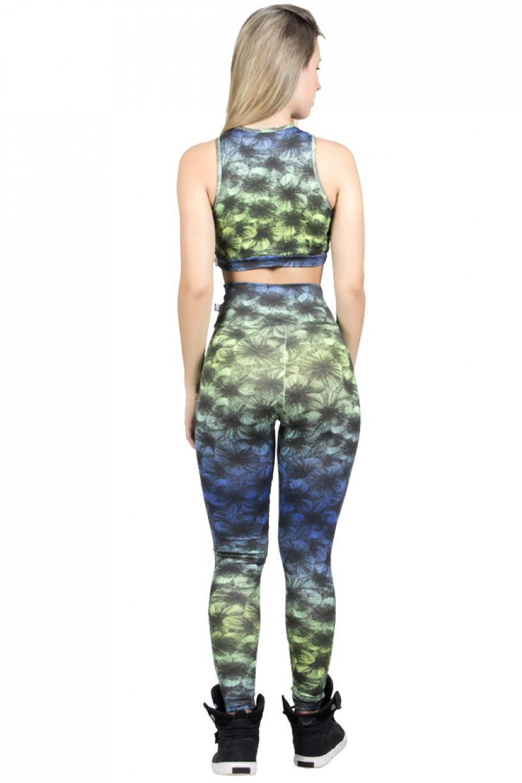Conjunto Cropped e Legging Estampada (Verde e Azul com Listras Pretas) | Ref: F817