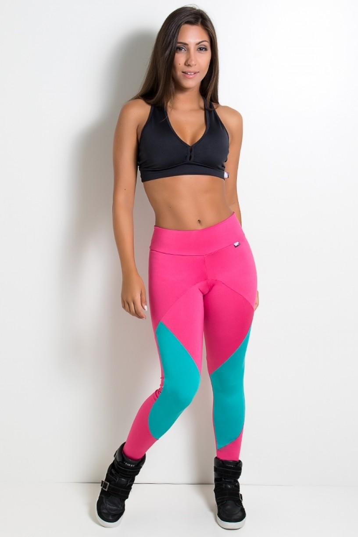 F2188-001_Calca_2_Cores_com_Recorte_Rosa_Pink___Verde_Esmeralda__Ref:F2188-001