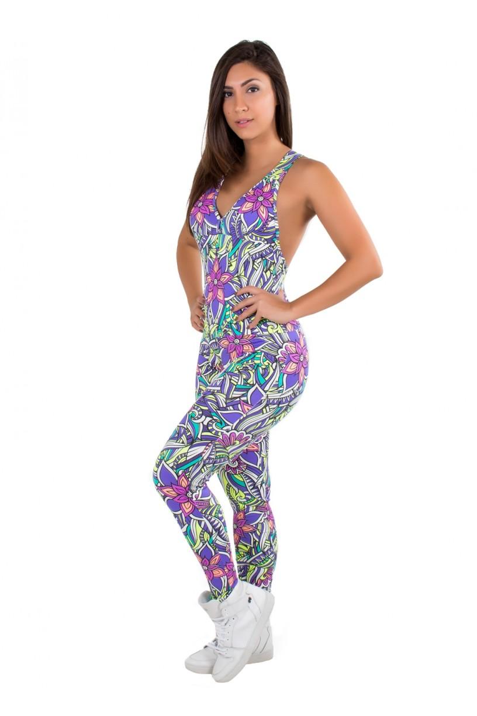 F50-015_Macacao_Fitness_Bela_Tribal_Colorido_com_Flor_Roxa__Ref:_F50-015