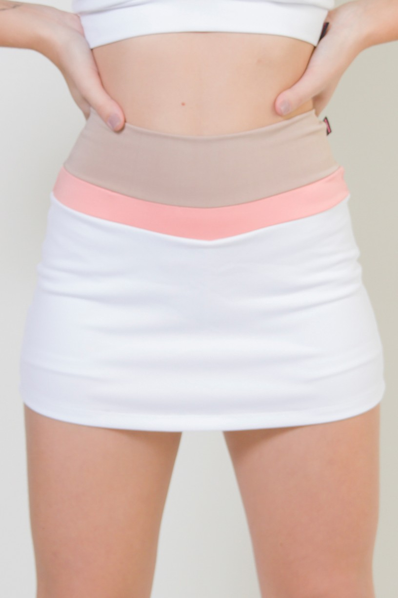 KS-F1601-002_Short_Saia_Tres_Cores_Branco__Chocolate__Coral_Tandy__Ref:_KS-F1601-002