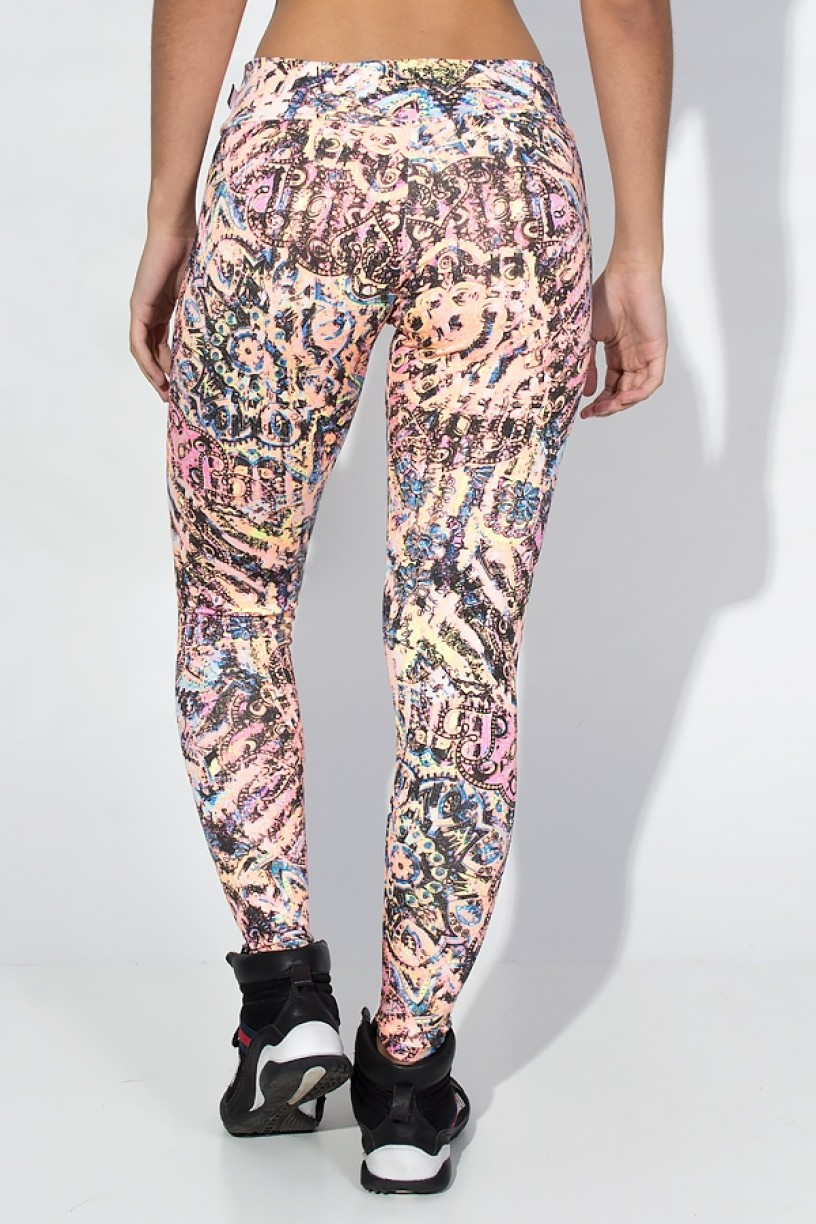 KS-F343-004_Calca_Legging_Estampada_Cos_Baixo_Salmao_com_Tribal_e_Flores__Ref:_KS-F343-004