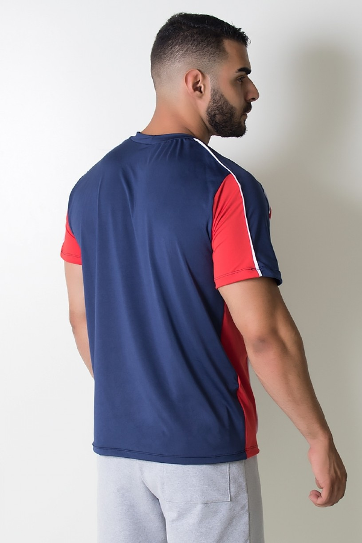KS-H07-001_Camiseta_de_Microlight_Duas_Cores_com_Vivo_Branco_Azul_Marinho__Vermelho__Ref:_KS-H07-001